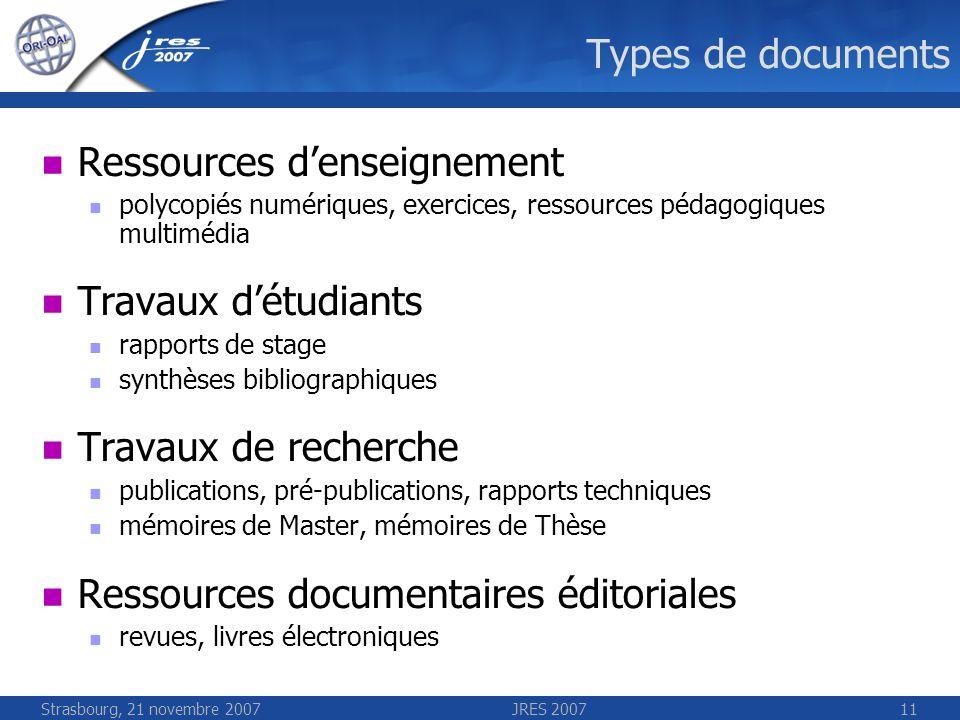 Strasbourg, 21 novembre 2007JRES 200711 Types de documents Ressources denseignement polycopiés numériques, exercices, ressources pédagogiques multiméd