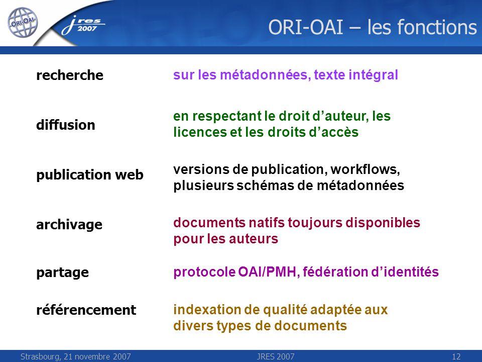Strasbourg, 21 novembre 2007JRES 200712 ORI-OAI – les fonctions indexation de qualité adaptée aux divers types de documents sur les métadonnées, texte