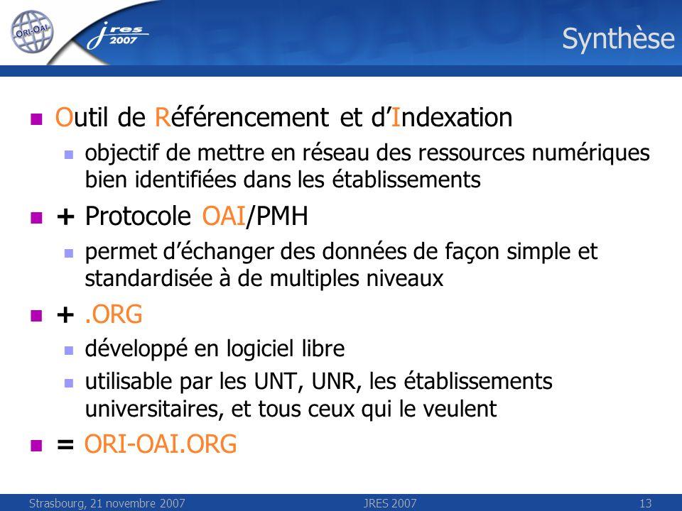 Strasbourg, 21 novembre 2007JRES 200713 Synthèse Outil de Référencement et dIndexation objectif de mettre en réseau des ressources numériques bien ide