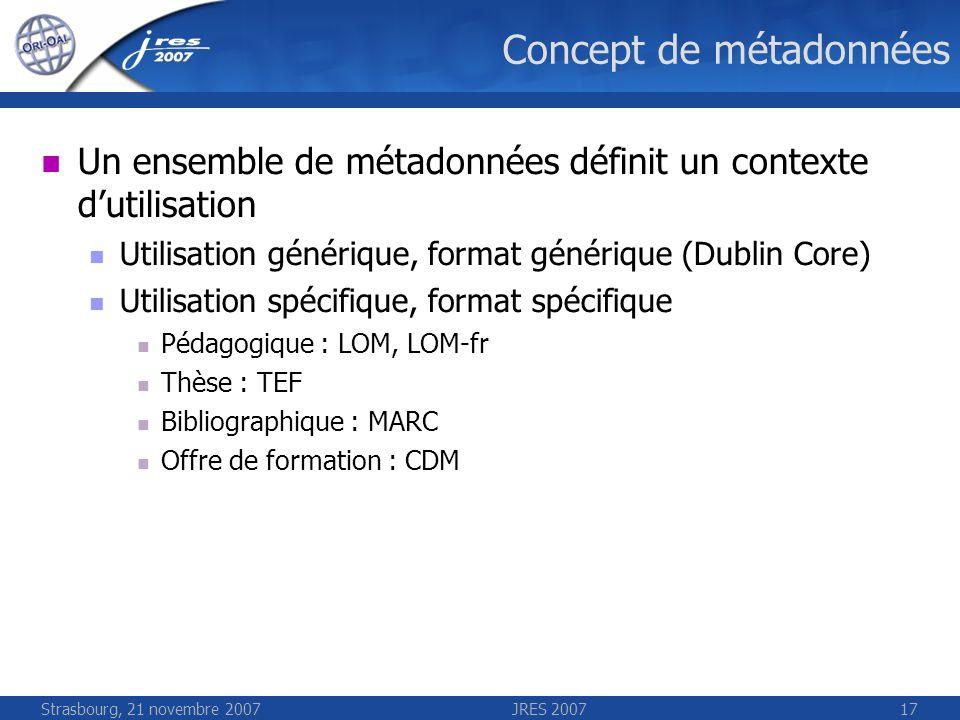 Strasbourg, 21 novembre 2007JRES 200717 Concept de métadonnées Un ensemble de métadonnées définit un contexte dutilisation Utilisation générique, form