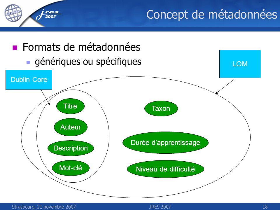 Strasbourg, 21 novembre 2007JRES 200718 Concept de métadonnées Formats de métadonnées génériques ou spécifiques Titre Auteur Description Mot-clé Taxon