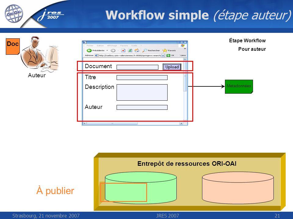 Strasbourg, 21 novembre 2007JRES 200721 Workflow simple (étape auteur) Entrepôt de ressources ORI-OAI Auteur Étape Workflow Pour auteur Titre Descript