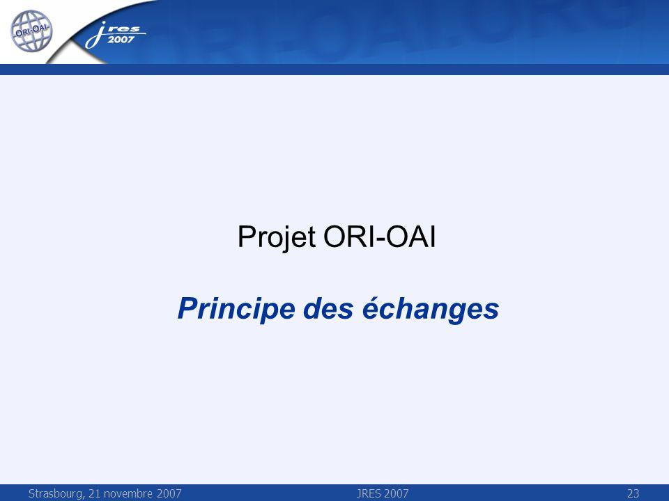 Strasbourg, 21 novembre 2007JRES 200723 Projet ORI-OAI Principe des échanges