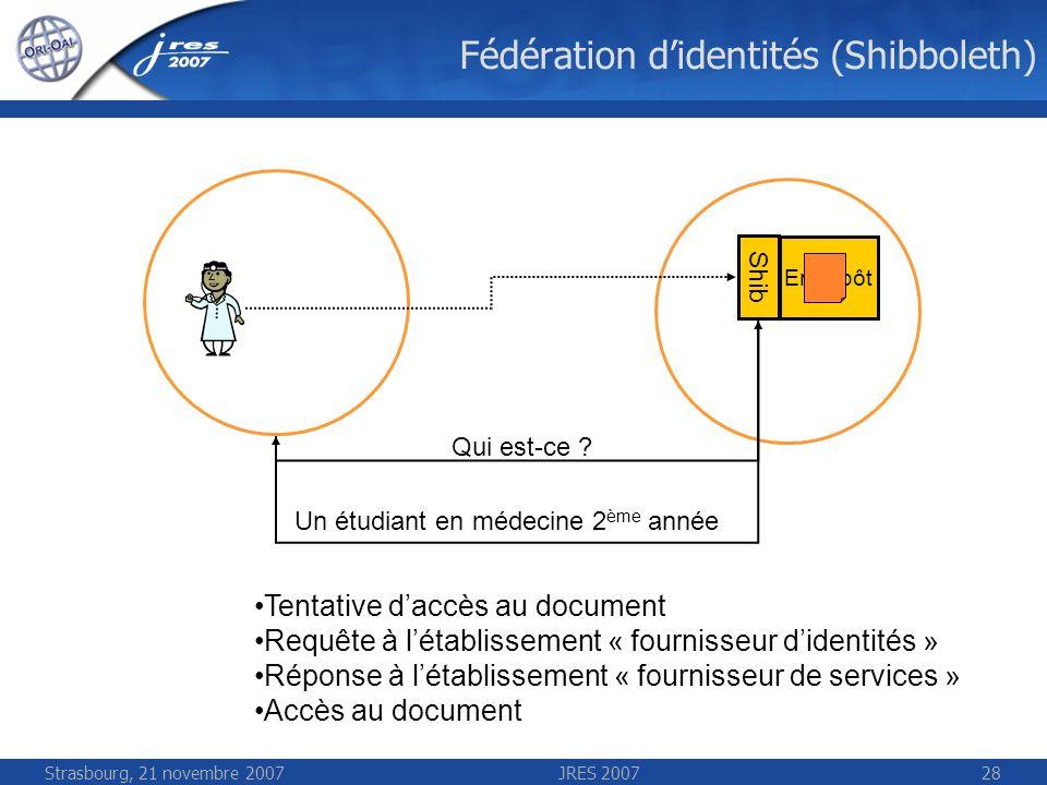 Strasbourg, 21 novembre 2007JRES 200728 Fédération didentités (Shibboleth) Entrepôt Shib Qui est-ce ? Un étudiant en médecine 2 ème année Tentative da