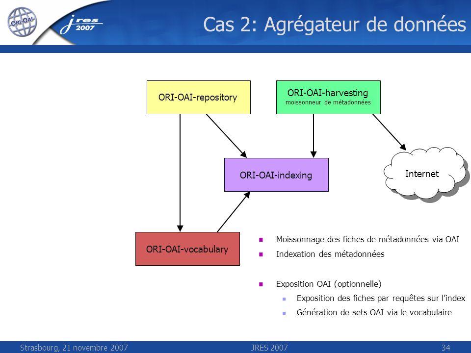 Strasbourg, 21 novembre 2007JRES 200734 Cas 2: Agrégateur de données Internet ORI-OAI-repository ORI-OAI-harvesting moissonneur de métadonnées ORI-OAI