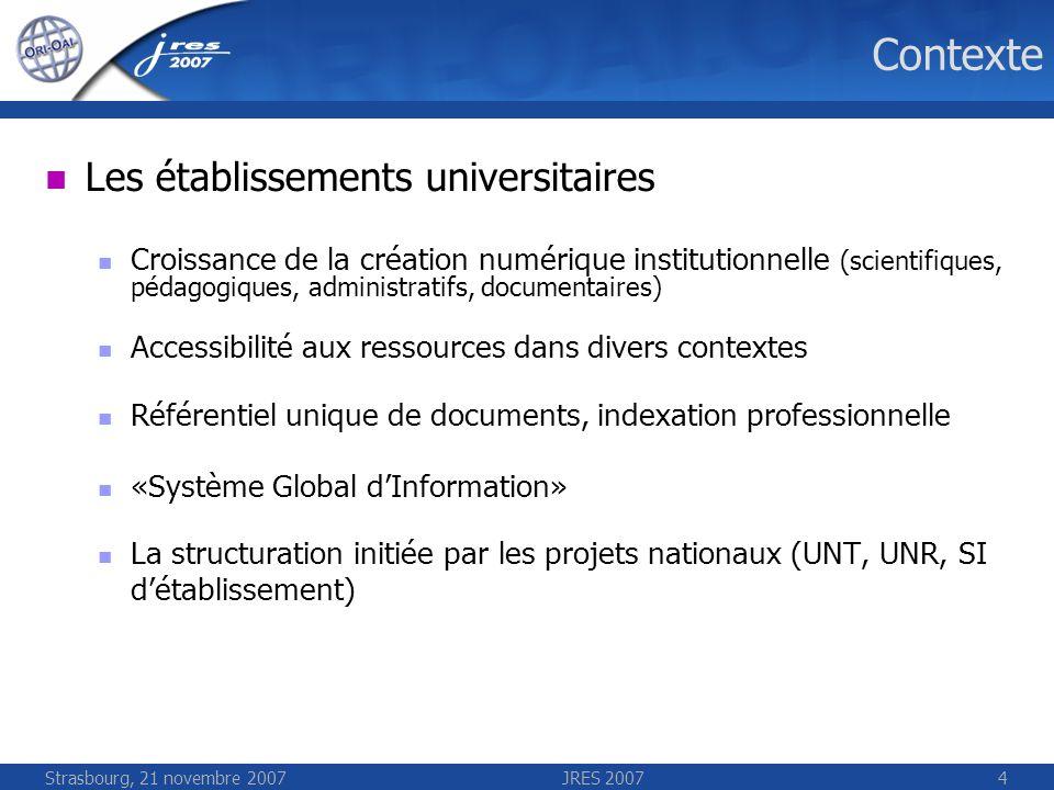 Strasbourg, 21 novembre 2007JRES 20074 Contexte Les établissements universitaires Croissance de la création numérique institutionnelle (scientifiques,