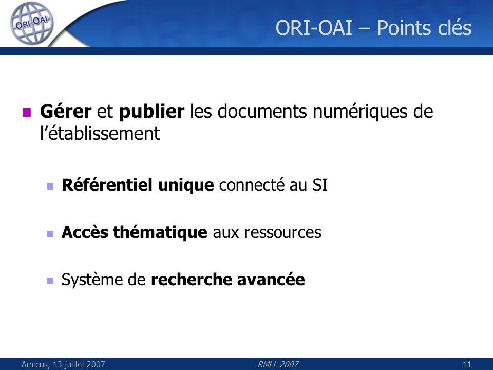 Amiens, 13 juillet 2007RMLL 200711 ORI-OAI – Points clés Gérer et publier les documents numériques de létablissement Référentiel unique connecté au SI