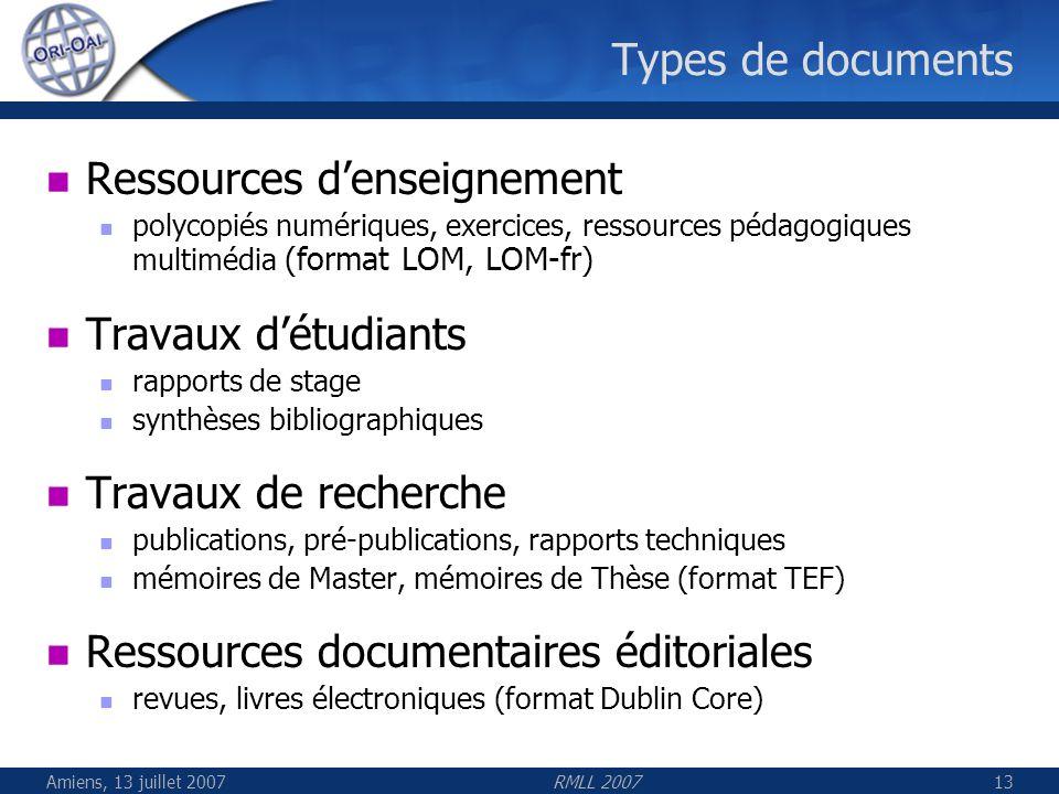 Amiens, 13 juillet 2007RMLL 200713 Types de documents Ressources denseignement polycopiés numériques, exercices, ressources pédagogiques multimédia (f