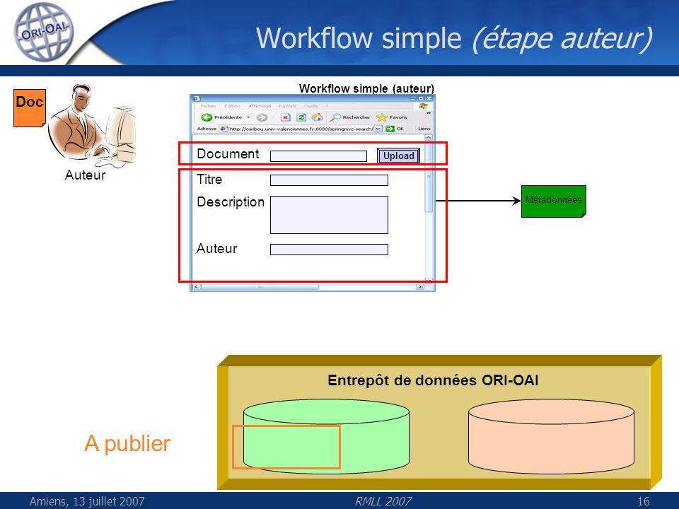 Amiens, 13 juillet 2007RMLL 200716 Workflow simple (étape auteur) Entrepôt de données ORI-OAI Auteur Workflow simple (auteur) Titre Description Auteur
