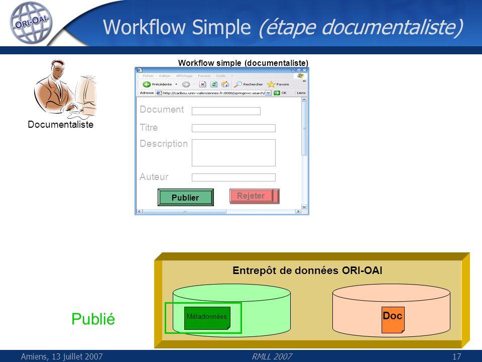 Amiens, 13 juillet 2007RMLL 200717 Workflow Simple (étape documentaliste) Entrepôt de données ORI-OAI Documentaliste Workflow simple (documentaliste)