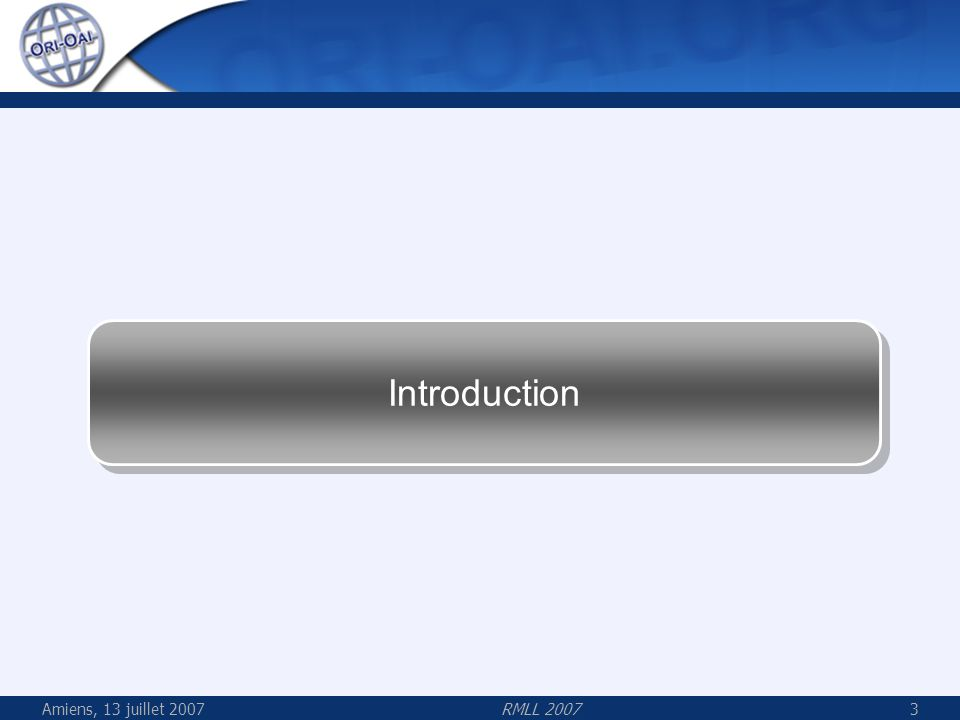 Amiens, 13 juillet 2007RMLL 200734 Technologies Java J2EE Spring : Inversion de Contrôle, injection de dépendance Hibernate : Liaison facilitée aux bases relationnelles XFire : Web services SOAP simplifiés et efficaces AOP/AspectJ : Gestion transversale non-intrusive des transactions et des permissions Lucene et LIUS : indexation XML, plein-texte et de formats binaires (PDF, Word, RTF…) par Apache et luniversité Laval (Québec) OAICat : implémentation Java populaire de OAI-PMH par OCLC OSWorkflow : Framework pour workflow très souple et paramétrable Orbeon / OPS : Puissant framework de formulaires Web basé sur Xforms I18N : localisation des IHM