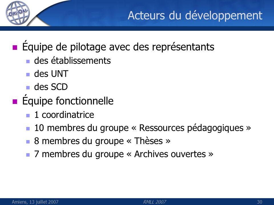 Amiens, 13 juillet 2007RMLL 200730 Acteurs du développement Équipe de pilotage avec des représentants des établissements des UNT des SCD Équipe foncti