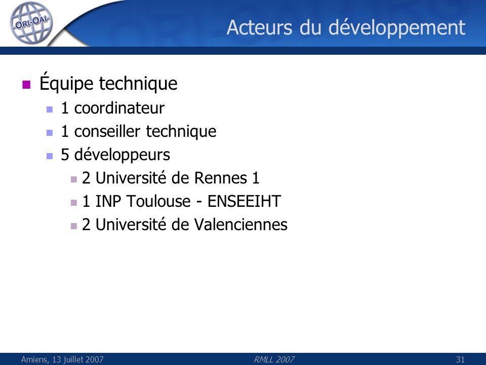 Amiens, 13 juillet 2007RMLL 200731 Acteurs du développement Équipe technique 1 coordinateur 1 conseiller technique 5 développeurs 2 Université de Renn