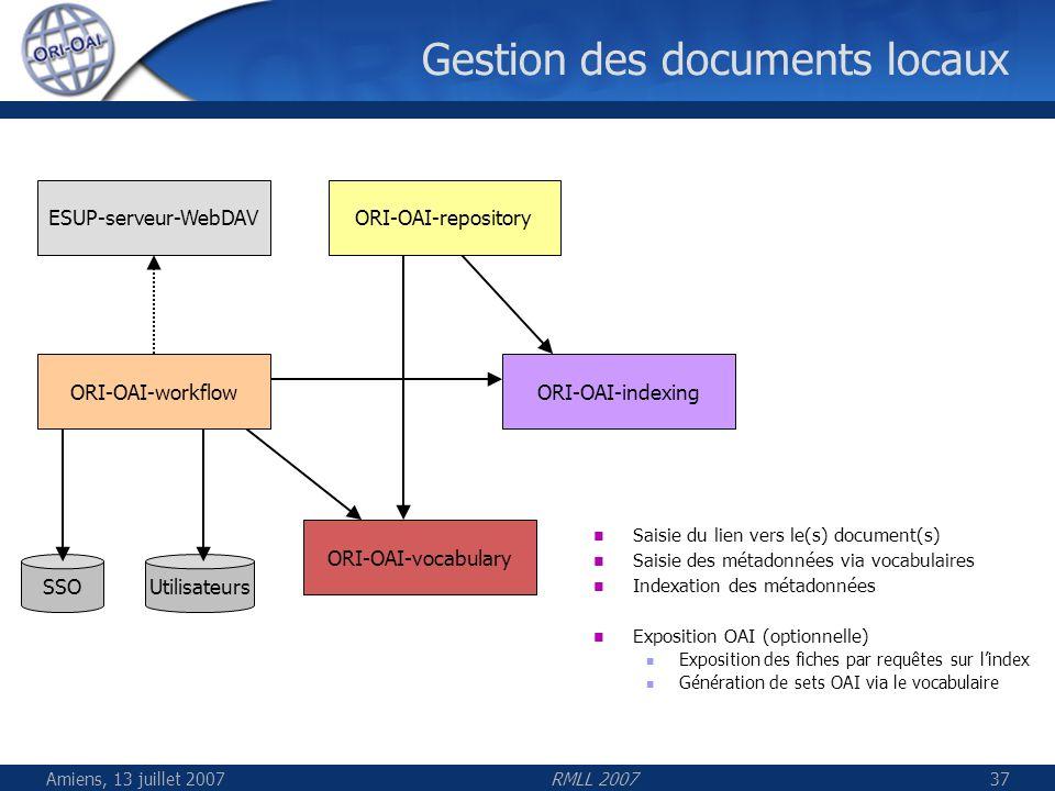 Amiens, 13 juillet 2007RMLL 200737 Gestion des documents locaux UtilisateursSSO ESUP-serveur-WebDAVORI-OAI-repository ORI-OAI-indexingORI-OAI-workflow