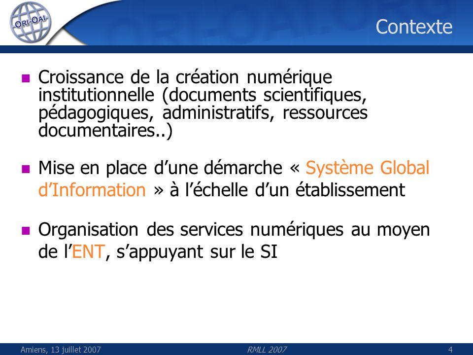 Amiens, 13 juillet 2007RMLL 20075 Contexte Besoin dun référentiel unique de documents et dune indexation professionnelle Demande croissante daccessibilité aux ressources numériques dans différents contextes La structuration importante initiée par les projets nationaux (UNT, UNR, SI détablissement)