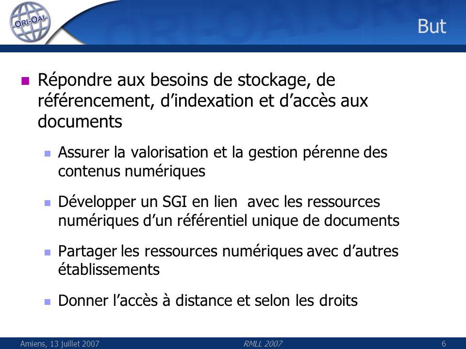 Amiens, 13 juillet 2007RMLL 20077 Le partage dans ORI-OAI Patrimoine pérenne pouvant se partager Avec les acteurs de létablissement Avec les partenaires des réseaux locaux, nationaux et internationaux de létablissement Avec les internautes En respectant les règles du numérique et les standards Droits dauteur Interopérabilité des systèmes (OAI / SOAP) Normes déchange (schémas XML) Vocabulaire commun