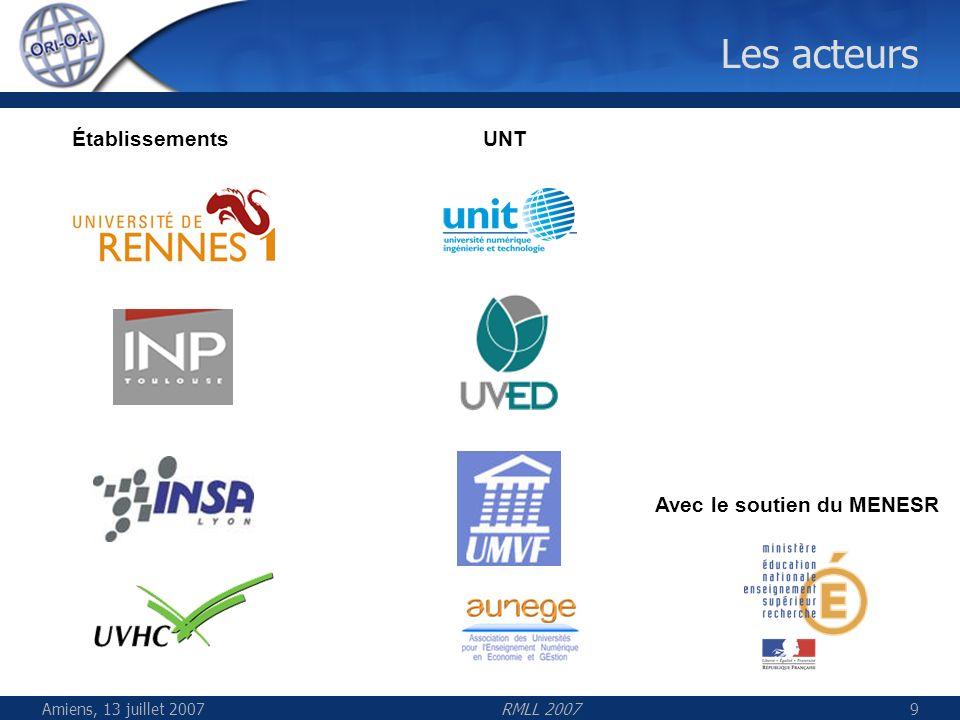Amiens, 13 juillet 2007RMLL 200730 Acteurs du développement Équipe de pilotage avec des représentants des établissements des UNT des SCD Équipe fonctionnelle 1 coordinatrice 10 membres du groupe « Ressources pédagogiques » 8 membres du groupe « Thèses » 7 membres du groupe « Archives ouvertes »