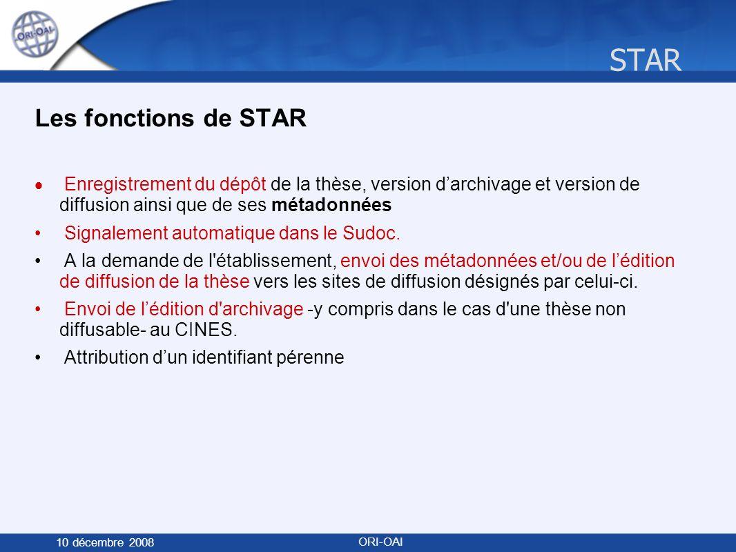 STAR 10 décembre 2008 ORI-OAI Les fonctions de STAR Enregistrement du dépôt de la thèse, version darchivage et version de diffusion ainsi que de ses métadonnées Signalement automatique dans le Sudoc.