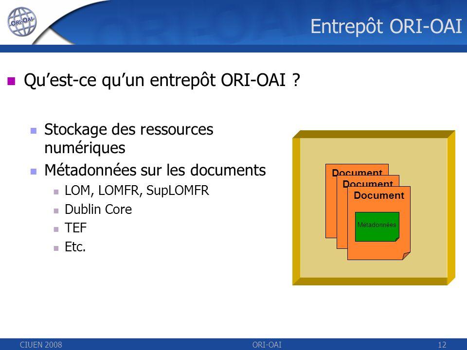 CIUEN 2008ORI-OAI12 Entrepôt ORI-OAI Document Quest-ce quun entrepôt ORI-OAI ? Stockage des ressources numériques Métadonnées sur les documents LOM, L