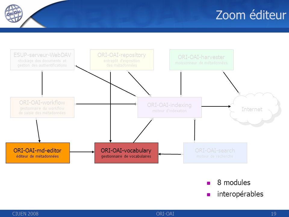 CIUEN 2008ORI-OAI19 Zoom éditeur ESUP-serveur-WebDAV stockage des documents et gestion des authentifications ORI-OAI-repository entrepôt dexposition des métadonnées ORI-OAI-indexing moteur dindexation ORI-OAI-workflow gestionnaire du workflow de saisie des métadonnées ORI-OAI-vocabulary gestionnaire de vocabulaires ORI-OAI-harvester moissonneur de métadonnées ORI-OAI-search moteur de recherche 8 modules interopérables ORI-OAI-md-editor éditeur de métadonnées Internet