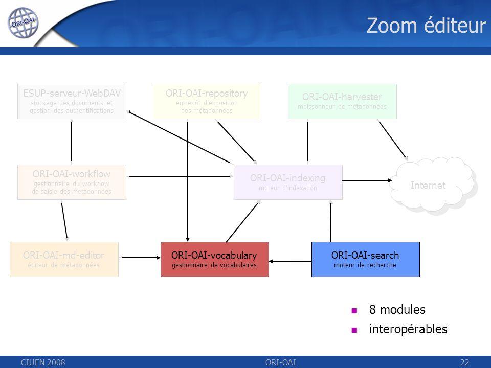 CIUEN 2008ORI-OAI22 Zoom éditeur ESUP-serveur-WebDAV stockage des documents et gestion des authentifications ORI-OAI-repository entrepôt dexposition des métadonnées ORI-OAI-indexing moteur dindexation ORI-OAI-workflow gestionnaire du workflow de saisie des métadonnées ORI-OAI-vocabulary gestionnaire de vocabulaires ORI-OAI-harvester moissonneur de métadonnées ORI-OAI-search moteur de recherche 8 modules interopérables ORI-OAI-md-editor éditeur de métadonnées Internet
