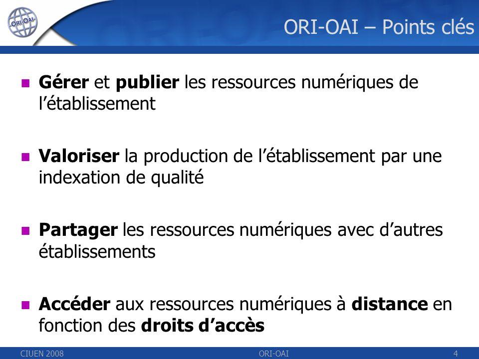 CIUEN 2008ORI-OAI4 ORI-OAI – Points clés Gérer et publier les ressources numériques de létablissement Valoriser la production de létablissement par une indexation de qualité Partager les ressources numériques avec dautres établissements Accéder aux ressources numériques à distance en fonction des droits daccès