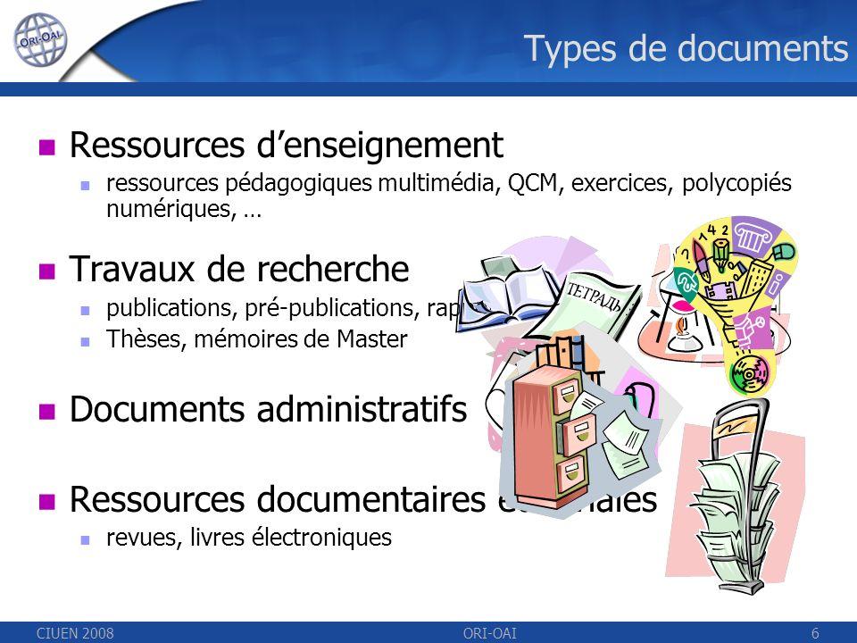 CIUEN 2008ORI-OAI6 Types de documents Ressources denseignement ressources pédagogiques multimédia, QCM, exercices, polycopiés numériques, … Travaux de