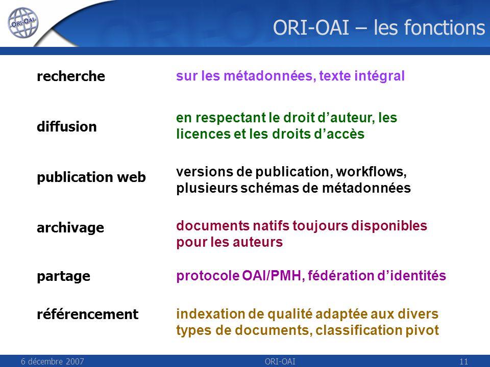 6 décembre 2007ORI-OAI11 ORI-OAI – les fonctions indexation de qualité adaptée aux divers types de documents, classification pivot sur les métadonnées, texte intégral en respectant le droit dauteur, les licences et les droits daccès versions de publication, workflows, plusieurs schémas de métadonnées documents natifs toujours disponibles pour les auteurs protocole OAI/PMH, fédération didentités recherche diffusion publication web archivage référencement partage