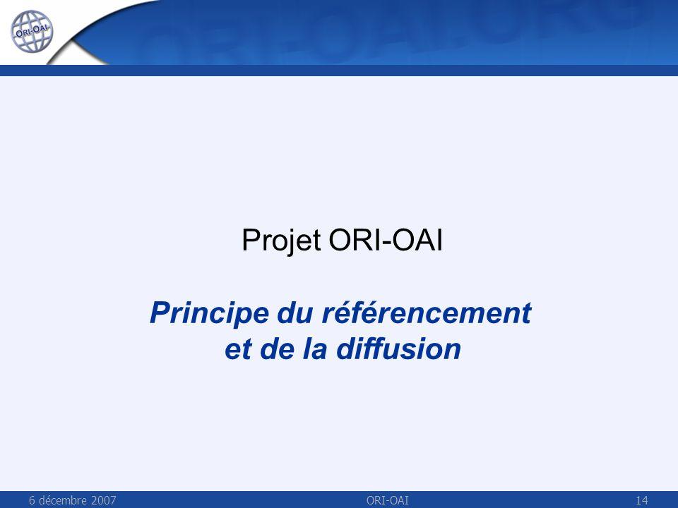6 décembre 2007ORI-OAI14 Projet ORI-OAI Principe du référencement et de la diffusion