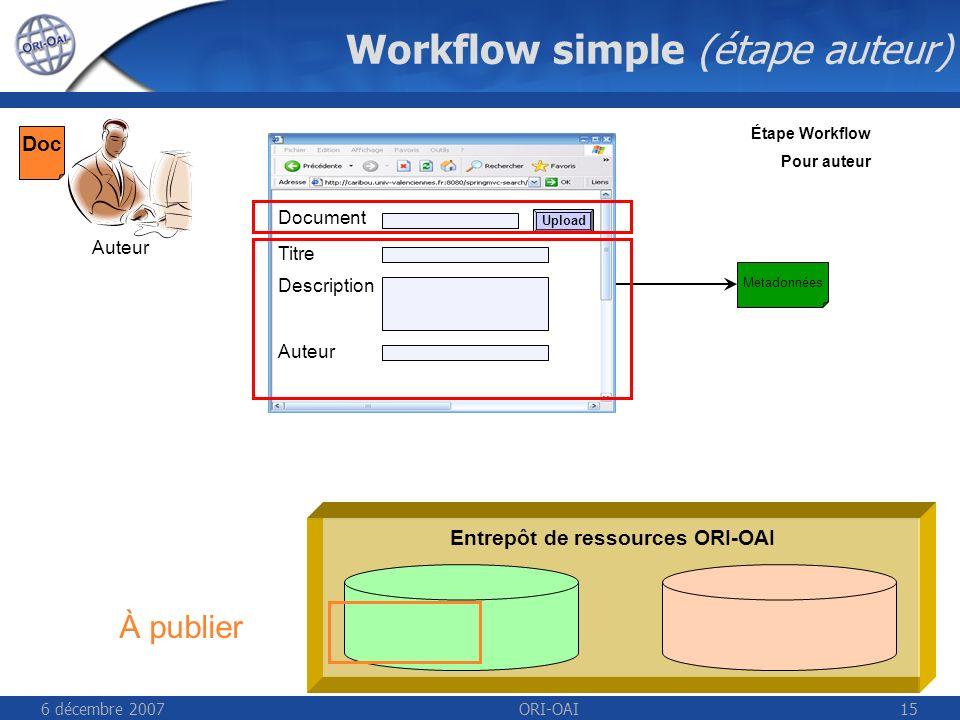 6 décembre 2007ORI-OAI15 Workflow simple (étape auteur) Entrepôt de ressources ORI-OAI Auteur Étape Workflow Pour auteur Titre Description Auteur Document Upload Metadonnées Doc À publier