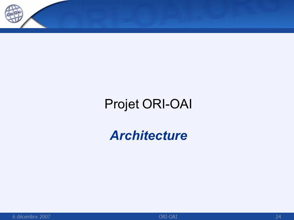6 décembre 2007ORI-OAI24 Projet ORI-OAI Architecture