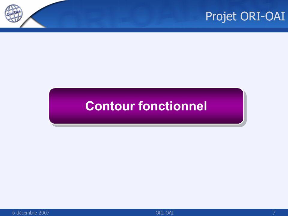 6 décembre 2007ORI-OAI7 Contour fonctionnel Projet ORI-OAI