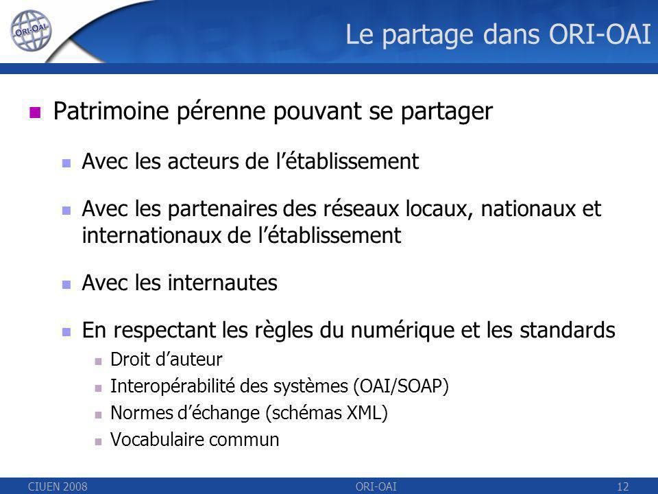 CIUEN 2008ORI-OAI12 Le partage dans ORI-OAI Patrimoine pérenne pouvant se partager Avec les acteurs de létablissement Avec les partenaires des réseaux locaux, nationaux et internationaux de létablissement Avec les internautes En respectant les règles du numérique et les standards Droit dauteur Interopérabilité des systèmes (OAI/SOAP) Normes déchange (schémas XML) Vocabulaire commun