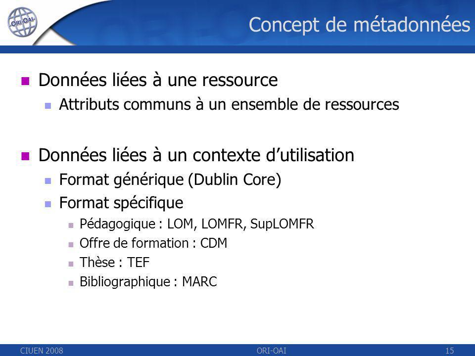 CIUEN 2008ORI-OAI15 Concept de métadonnées Données liées à une ressource Attributs communs à un ensemble de ressources Données liées à un contexte dutilisation Format générique (Dublin Core) Format spécifique Pédagogique : LOM, LOMFR, SupLOMFR Offre de formation : CDM Thèse : TEF Bibliographique : MARC