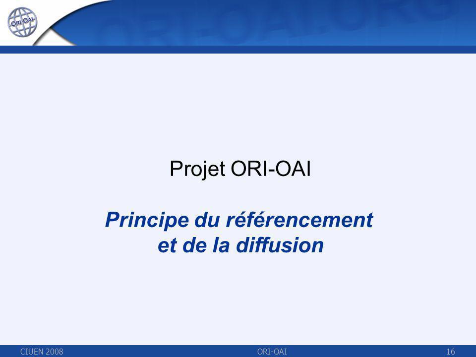 CIUEN 2008ORI-OAI16 Projet ORI-OAI Principe du référencement et de la diffusion