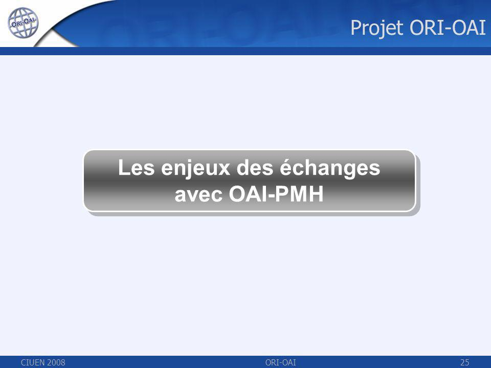 CIUEN 2008ORI-OAI25 Projet ORI-OAI Les enjeux des échanges avec OAI-PMH Les enjeux des échanges avec OAI-PMH