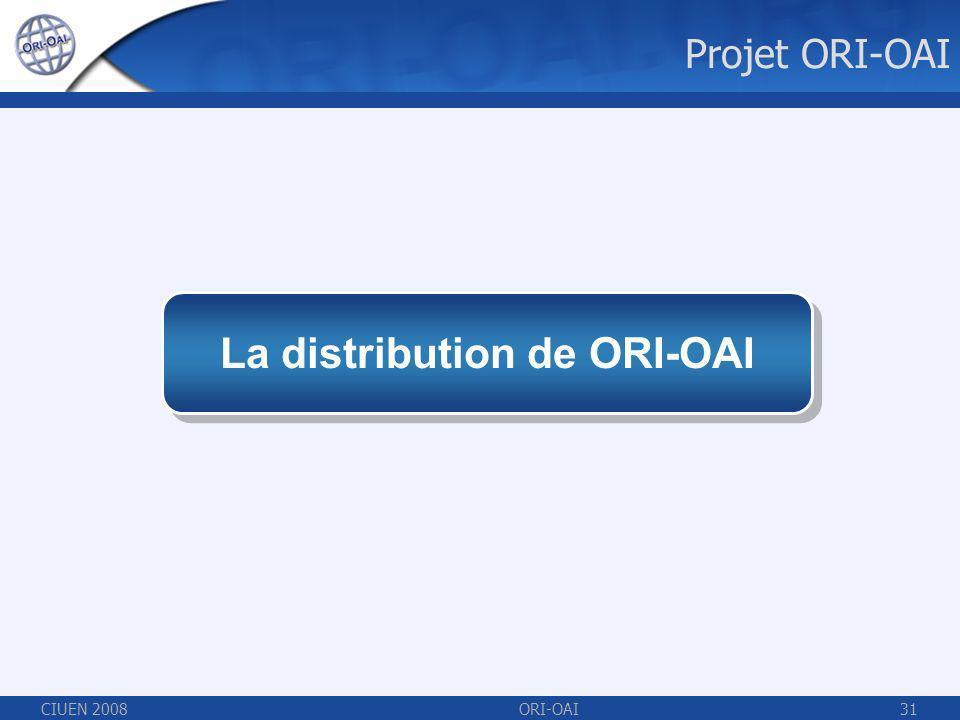 CIUEN 2008ORI-OAI31 La distribution de ORI-OAI Projet ORI-OAI