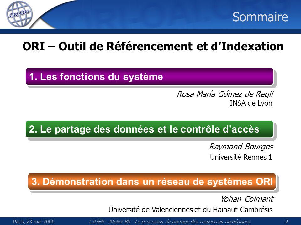 Paris, 23 mai 2006CIUEN - Atelier B8 - Le processus de partage des ressources numériques23 Fédération didentités (Shibboleth) Pour en savoir plus Tutorial JRES 2005 Pascal Aubry (Rennes 1), Florent Guilleux (CRU), Olivier Salaün (CRU) http://federation.cru.fr/doc/shibboleth-jres2005-article.pdf