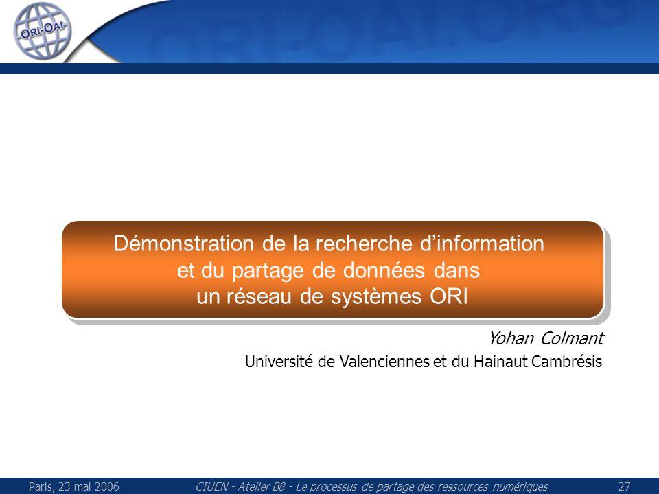 Paris, 23 mai 2006CIUEN - Atelier B8 - Le processus de partage des ressources numériques27 Démonstration de la recherche dinformation et du partage de données dans un réseau de systèmes ORI Démonstration de la recherche dinformation et du partage de données dans un réseau de systèmes ORI Yohan Colmant Université de Valenciennes et du Hainaut Cambrésis