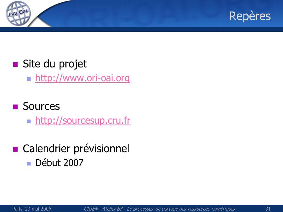 Paris, 23 mai 2006CIUEN - Atelier B8 - Le processus de partage des ressources numériques31 Repères Site du projet http://www.ori-oai.org Sources http://sourcesup.cru.fr Calendrier prévisionnel Début 2007