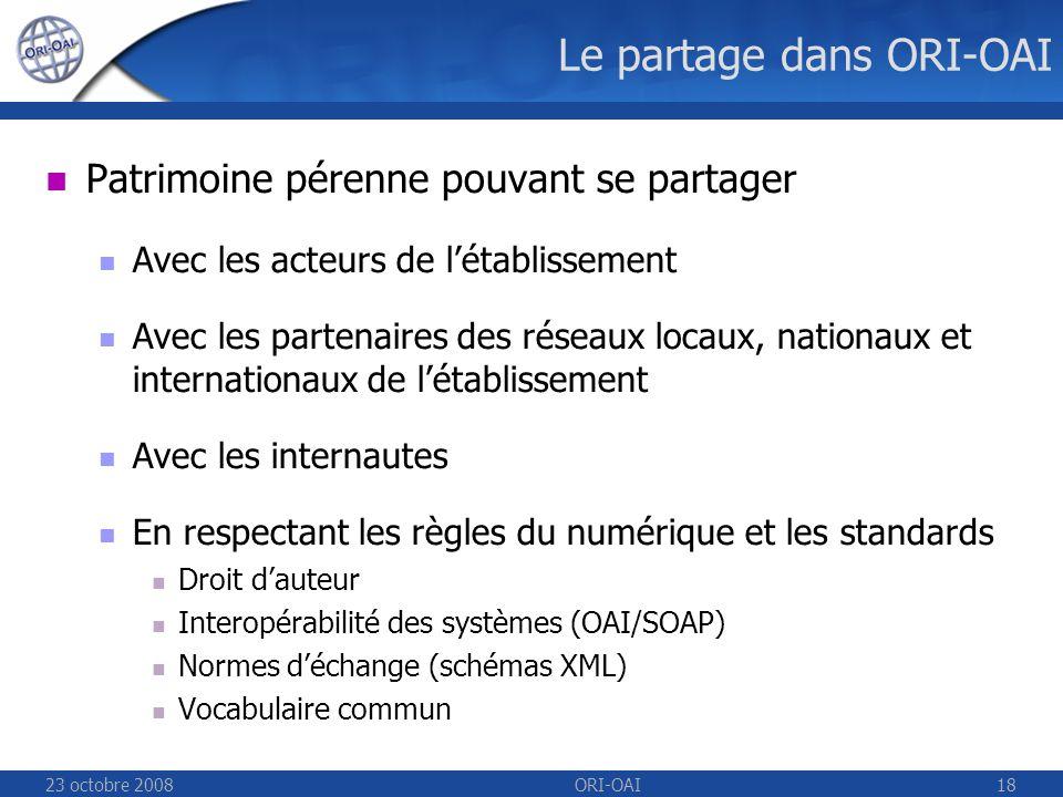 23 octobre 2008ORI-OAI18 Le partage dans ORI-OAI Patrimoine pérenne pouvant se partager Avec les acteurs de létablissement Avec les partenaires des réseaux locaux, nationaux et internationaux de létablissement Avec les internautes En respectant les règles du numérique et les standards Droit dauteur Interopérabilité des systèmes (OAI/SOAP) Normes déchange (schémas XML) Vocabulaire commun