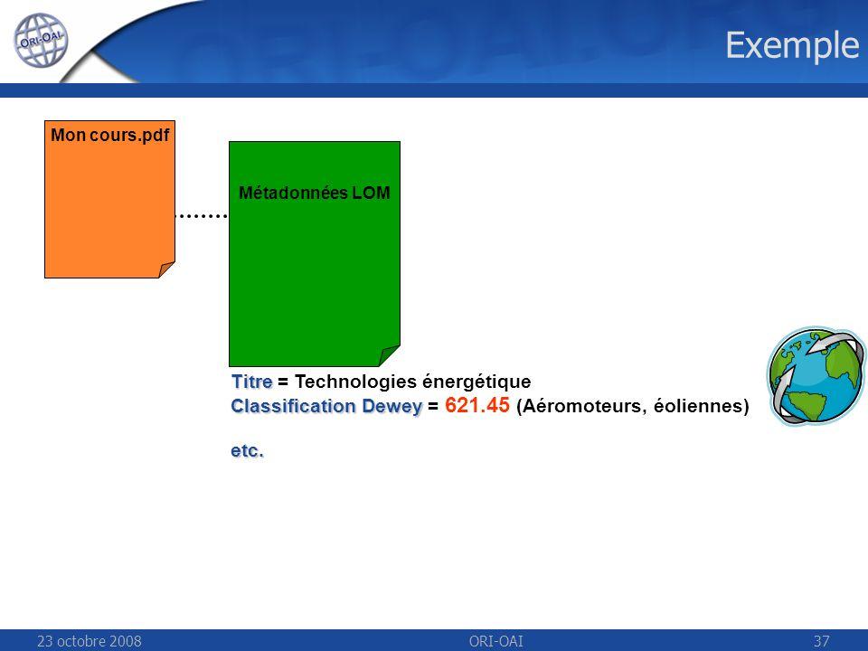 23 octobre 2008ORI-OAI37 Exemple Mon cours.pdf Métadonnées LOM Titre Titre = Technologies énergétique Classification Dewey Classification Dewey = 621.45 (Aéromoteurs, éoliennes)etc.