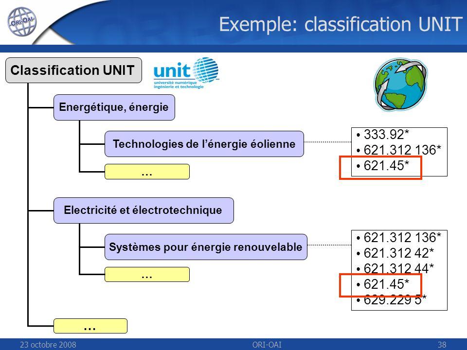 23 octobre 2008ORI-OAI38 621.312 136* 621.312 42* 621.312 44* 621.45* 629.229 5* Exemple: classification UNIT 333.92* 621.312 136* 621.45* … Systèmes pour énergie renouvelable Technologies de lénergie éolienne … Energétique, énergie Classification UNIT … Electricité et électrotechnique