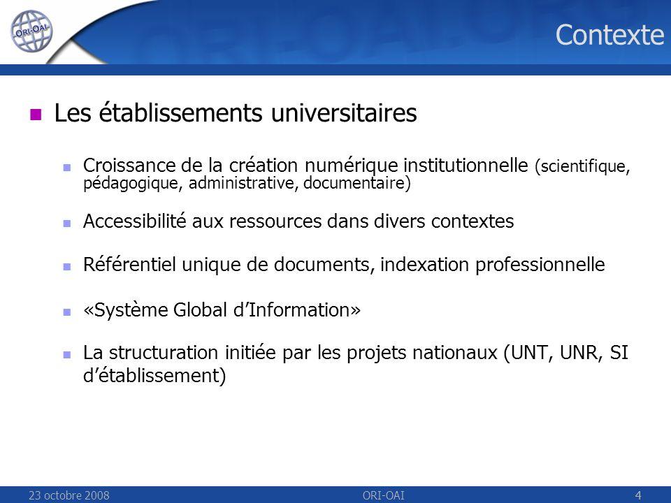 23 octobre 2008ORI-OAI45 Gestion des vocabulaires Centralisation et automatisation des vocabulaires Répartition en réseau des vocabulaires avec tolérance à la panne (cache intelligent) Utilisés en amont (workflow) et en aval (recherche, OAI) Chaque vocabulaire est partageable par x établissements, UNT/UNR Vocabulaires de référence fermés et statiques avec peu de fluctuations (taxonomies, liste de mots-clés fermée) Vocabulaires dynamiques générés automatiquement depuis un annuaire LDAP ou Active Directory daprès les valeurs déjà indexées (auteurs, mots-clés libres) daprès des référentiels existants (bases de données…)