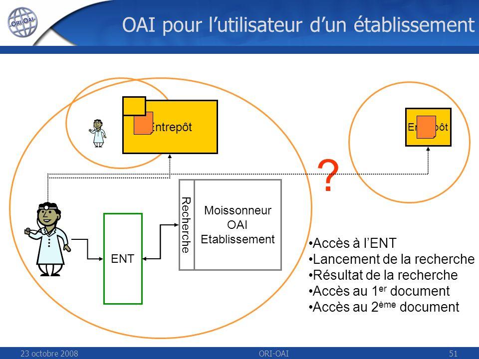 23 octobre 2008ORI-OAI51 OAI pour lutilisateur dun établissement Entrepôt ENT .