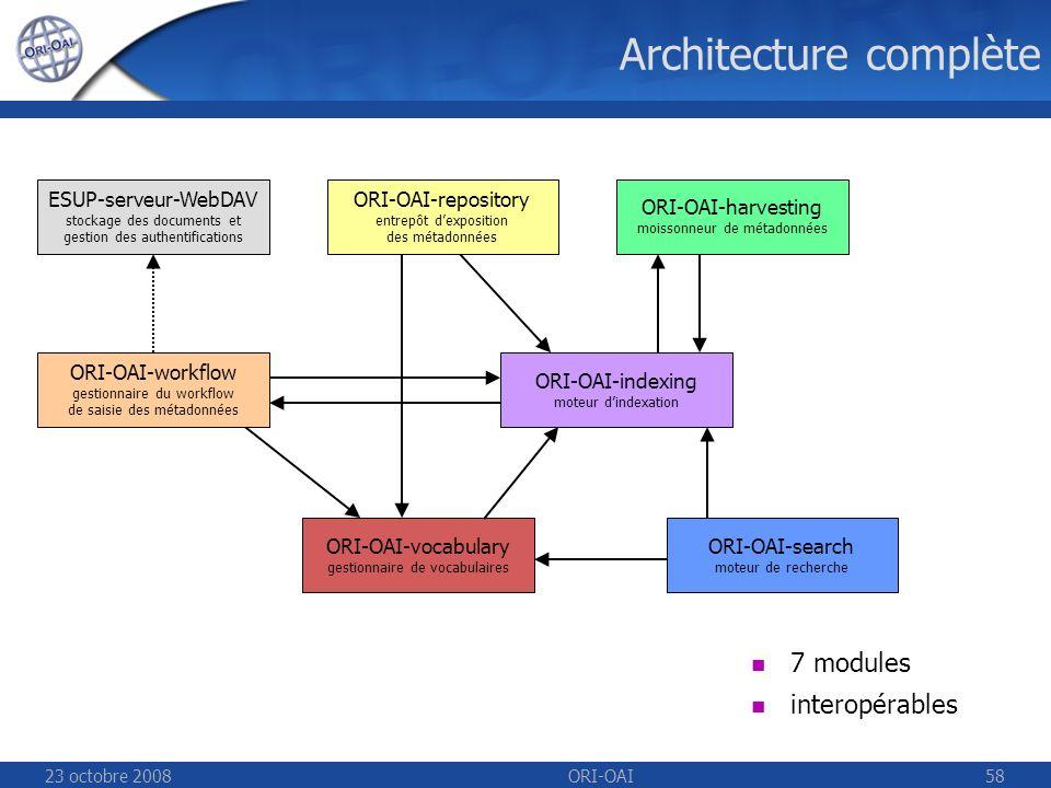 23 octobre 2008ORI-OAI58 Architecture complète ESUP-serveur-WebDAV stockage des documents et gestion des authentifications ORI-OAI-repository entrepôt dexposition des métadonnées ORI-OAI-indexing moteur dindexation ORI-OAI-workflow gestionnaire du workflow de saisie des métadonnées ORI-OAI-vocabulary gestionnaire de vocabulaires ORI-OAI-harvesting moissonneur de métadonnées ORI-OAI-search moteur de recherche 7 modules interopérables