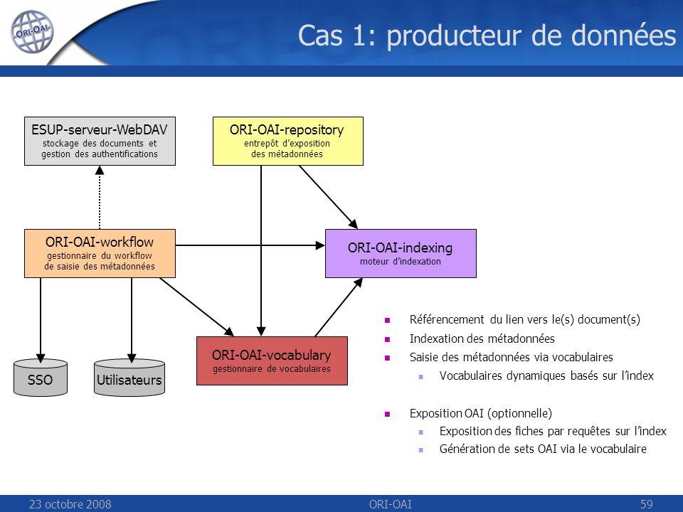 23 octobre 2008ORI-OAI59 Cas 1: producteur de données UtilisateursSSO ESUP-serveur-WebDAV stockage des documents et gestion des authentifications ORI-OAI-repository entrepôt dexposition des métadonnées ORI-OAI-indexing moteur dindexation ORI-OAI-workflow gestionnaire du workflow de saisie des métadonnées ORI-OAI-vocabulary gestionnaire de vocabulaires Référencement du lien vers le(s) document(s) Indexation des métadonnées Saisie des métadonnées via vocabulaires Vocabulaires dynamiques basés sur lindex Exposition OAI (optionnelle) Exposition des fiches par requêtes sur lindex Génération de sets OAI via le vocabulaire
