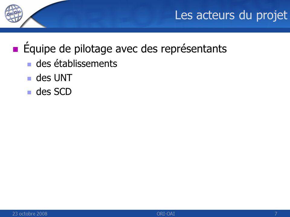 23 octobre 2008ORI-OAI7 Les acteurs du projet Équipe de pilotage avec des représentants des établissements des UNT des SCD