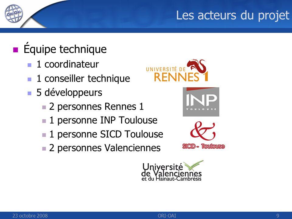23 octobre 2008ORI-OAI9 Les acteurs du projet Équipe technique 1 coordinateur 1 conseiller technique 5 développeurs 2 personnes Rennes 1 1 personne INP Toulouse 1 personne SICD Toulouse 2 personnes Valenciennes