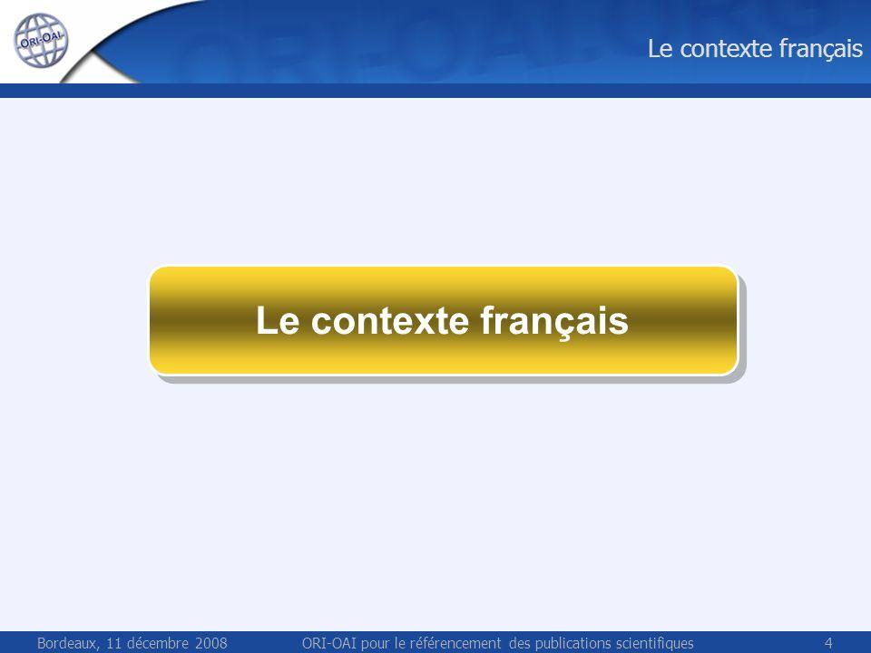 Bordeaux, 11 décembre 2008ORI-OAI pour le référencement des publications scientifiques4 Le contexte français